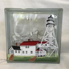 Glass Block Bank Hand Painted Lighthouses Painted Glass Blocks, Hand Painted, Lighthouses, Snow Globes, Cricut, Unique Jewelry, Handmade Gifts, Projects, Etsy