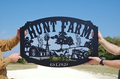 This listing is for a solid steel custom farm sign! Our signs are cut from heavy duty 11 ga steel right here in the USA. This sign measures 36 W x 24 H. To order please let us know the name you would like included on the custom sign. We will send a proof for you to view the custom sign and make any changes as necessary. Turnaround time is 2-3 weeks. All farm signs are professionally powder coated. For any questions please contact us. Thanks, Jess @ LMW