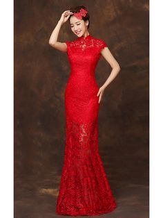 #traditional #chinese clothing traditional chinese #dress Floor length red lace checonsam Chinese mandarin collar bridal wedding dress Wedding Dresses