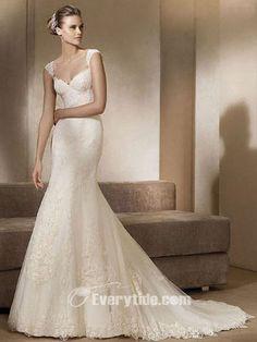 Wholesale Gorgeous Trumpet / Mermaid Sweetheart Chapel Train Floor Length Lace White Wedding Dress$183.99