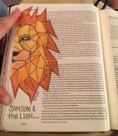 My Samson and the lion (Judges) Bible Notes, My Bible, Scripture Art, Bible Verses, Samson Bible, Illustrated Words, Bible Truth, Bible Lessons, Journal Inspiration