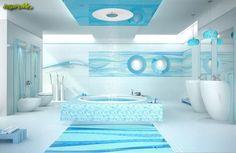 Niebieska, oryginalna łazienka z wanną pośrodku w płytkach kolekcji Tender/Way