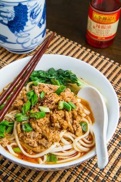 Dan Dan Mian  Noodles in a tasty and spicy Chinese Sichuan chili, sesame and pork sauce.