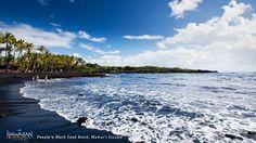 Punaluu Black Sand Beach on #Hawaii, the #BigIsland. #gohawaii #travel