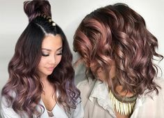 There are a lot of different ways to do mauve as the color treatment is created, so here are 20 pretty chocolate mauve hair color ideas for you to consider. Brown Hair Color Shades, Golden Brown Hair Color, Dark Blonde Hair Color, Hair Color And Cut, Cherry Hair Colors, Gold Hair Colors, Brown Hair Colors, Hair Colours, Rose Gold Hair Brunette