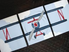 Airplane(Navy) 11x14 (set of 3) MADE TO ORDER on Etsy, $120.00