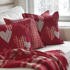 find fabric or fat quarters in colors that coordinate and add to solid pillows. Use extra plaid curtains to make table runners, pillow covers and to cut into shapes. I think I'd like stars better Valentine Decorations, Valentine Day Crafts, Love Valentines, Valentine Pillow, Fabric Crafts, Sewing Crafts, Sewing Projects, Cushion Covers, Pillow Covers