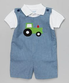 This Blue Tractor Layered John Johns - Infant & Toddler by Monday's Child is perfect! #zulilyfinds