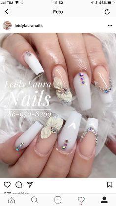 Cute Acrylic Nail Designs, Best Acrylic Nails, Nail Art Designs, Glam Nails, Cute Nails, Pretty Nails, Linda Nails, Coffin Nails Ombre, Natural Nail Designs