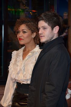 Antonia Thomas and Iwan Rheon; even better together. love a strong red lip on a mixed chic