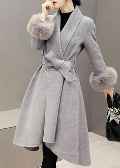 Grey fax fur long coat
