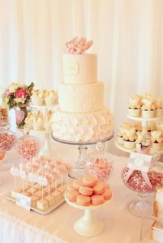 Dessert Table - Isabella's Christening styled by My Little Jedi (cake and sweets by Sweet Bloom Cakes) Christening Party, Baby Girl Christening, Baptism Party, Baptism Ideas, Wedding Sweets, Wedding Candy, Wedding Table, Wedding Reception, Candy Table