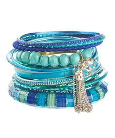 Another great find on #zulily! Aqua & Teal Glass Bangle Set #zulilyfinds