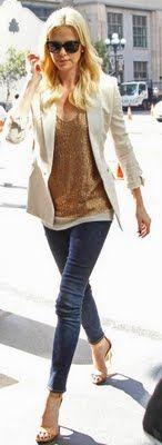 Skinny jeans, sequin tank, structured blazer.