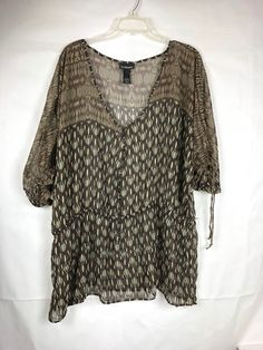 ce40cbf2 LANE BRYANT Women's Sheer top Plus size 26 / 28 Brown Beige V-neck Button up  95 #LaneBryant #tunic #Career
