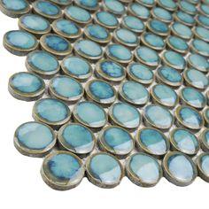 Merola Tile Hudson Penny Round Marine Porcelain Mosaic Tile - 3 in. x 4 in. Tile Sample-S1FKOMPR33 - The Home Depot