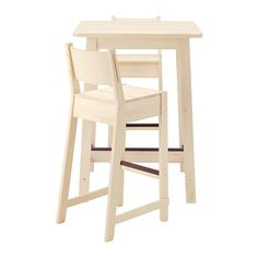 IKEA - NORRÅKER / NORRÅKER, Bar table and 2 bar stools, Durable and sturdy; meets the requirements on furniture for public use.Every table is unique, with varying grain pattern and natural color shifts that are part of the charm of wood.Rounded corners minimizes the risk of a child getting hurt.