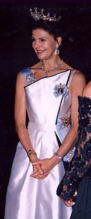 1994 - Queen Silvia in the gown without the black flowers at the Nobel Ceremony.