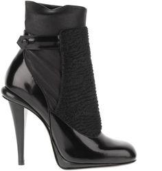 FENDI Black Low Boots in Matt Grained Leather