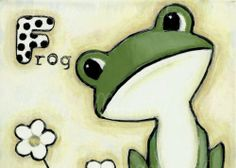 """ACEO ABC's Print """"F for Frog"""" Shelly Mundel Art"""