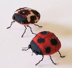 Ladybird Ladybug Beetle Soft Sculpture Fiber Art by BlueTerracotta, €60.00 ooak cute textile art