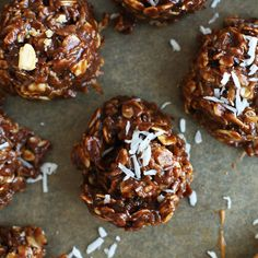Coconut No Bake Cookies Recipe Desserts with coconut sugar, unsweetened almond milk, coconut oil, unsweetened cocoa powder, unsweetened shredded dried coconut, rolled oats, natural peanut butter, pure vanilla extract, sea salt, salted roast peanuts