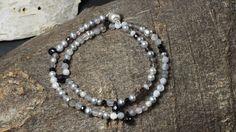 Armband aus Onyx, Botswana-Achat, Labradorit, Mondstein und Sterlingsilber 925