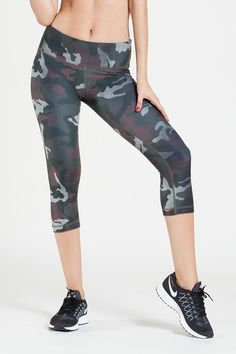 W.I.T.H.-Wear It To Heart WITH Women's Capris Snake Camo Green: Bottoms