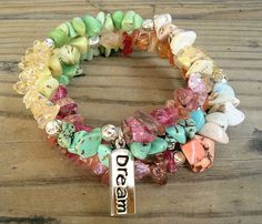 Bohemian Gypsy Bracelet, Mixed Gemstone Beaded, Multi Strand, Colorful Bracelet