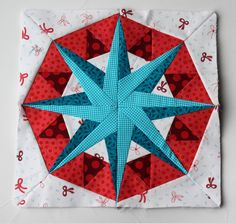 Paper piecing star pattern red aqua modern free. Open pin as there Are A Lot of Free Paper Pieced block patterns here of Star patterns, just tsp on block and PDF pattern opens up