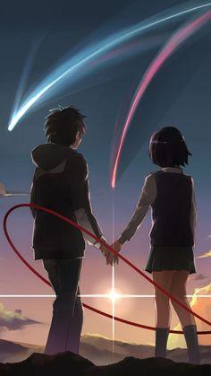 Kimi no Na wa. Mitsuha And Taki, Kimi No Na Wa Wallpaper, Your Name Wallpaper, Your Name Anime, Tamako Love Story, Japon Illustration, Anime Galaxy, Anime Love Couple, Anime Films