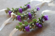 Flowers to Wear: eucalyptus, redwood, statice and oak wrist corsages     The Monkey Flower Group
