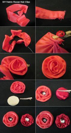DIY Tutorial: Hair Accessories / How to make an easy peasy yo-yo fabric flower hair clip - Bead&Cord