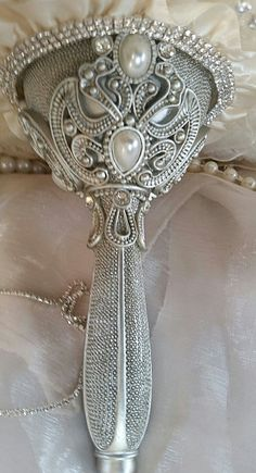 CUSTOM VINTAGE INSPIRED CASCADING IVORY JEWELED BOUQUET - $599 - Deposit to start your Custom Bouquet- $399 - Balance - To be paid after