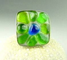Genuine Sea Glass Ring Statement Jewelry Silver Flower Ring In Sterling Silver | Surfside Sea Glass Jewelry