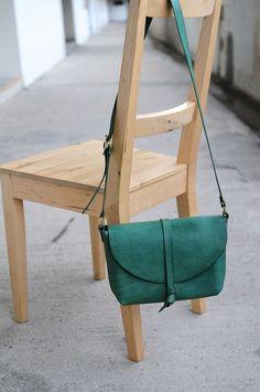 petrol green cross body leather bag