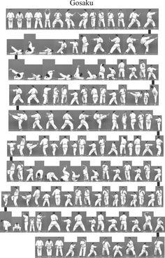 Bitmap_in_3f_Gosaku Shotokan Karate Kata, Karate Styles, Japanese Karate, Karate Dojo, Goju Ryu, Marshal Arts, Martial Arts Techniques, Qigong, Aikido