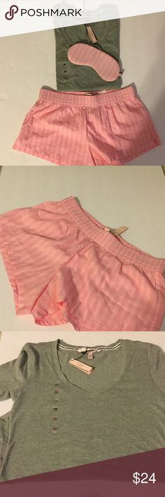JUST LISTED NWT Victoria's Secret sleep set❤️❤️❤️ JUST LISTED NWT Victoria's Secret sleep set. The 3 piece set features gray tank, pink striped shorts and sleep mask. Victoria's Secret Other