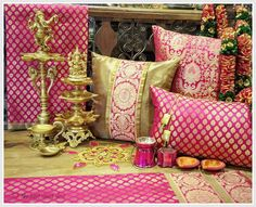 the east coast desi: A Virtual Tour of EKA Lifestyle in Bengaluru! Ethnic Home Decor, Indian Home Decor, Diy Pillows, Decorative Pillows, Cushion Cover Designs, Cushion Covers, Pillow Covers, Indian Room, Colourful Living Room