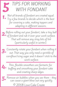 5 Tips For Working With Fondant – these tips will help you achieve a professiona… - Cake Decorating Simple Ideen Fondant Icing Cakes, Fondant Cake Tutorial, Fondant Tips, Fondant Recipes, Cupcake Cakes, Cake Recipes, Homemade Fondant, Cupcakes, Cake Decorating For Beginners