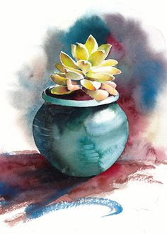 Succulent print, Succulent watercolor, Succulent art, Botanical print - giclee print of an original watercolor x 7 in) Succulent III, Archival Watercolor Print This is a giclee print of my original painting. This piece belongs to a series of succulent p Watercolor Paintings For Beginners, Easy Watercolor, Watercolor Print, Watercolor Water, Easy Paintings, Watercolor Succulents, Watercolor Flowers, Plant Painting, Painting Art