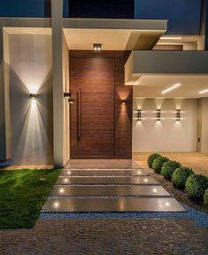mil Me gusta, 55 comentarios - ⠀⠀⠀⠀ Modern House Facades, Modern Exterior House Designs, Dream House Exterior, Modern House Design, Exterior Design, Facade Design, Door Design, Contemporary Design, Design Art