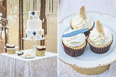 Summer weddings can definitely get hot. Sometimes it's too hot to keep a towering wedding cake from melting into a pile of buttercream. If you want weather-friendly desserts, try cupcakes. We love the simple blue + gold feathers that match this wedding's cake.