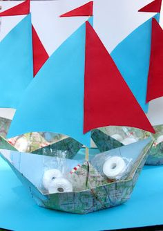 Sailboats...great use for old maps and driving atlas pages!