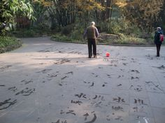 Cute old man practicing his calligraphy with water in the Bamboo Park in Chengdu (next to Sichuan University).