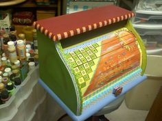 Handpainted Breadbox just before I transported it to the Gallery.  Sold!