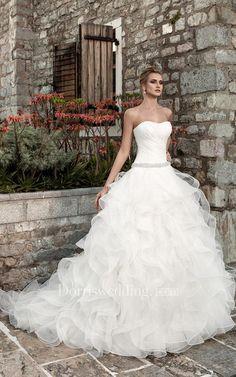 #Dorris Wedding - #Dorris Wedding Sleeveless Ruffled A-line Organza Wedding Dress With Ruching - AdoreWe.com