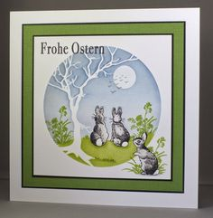 Frohe Ostern/Happy Easter Card. Clarity bunny stamps and tree stencil.