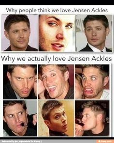 TBH that's the reason why the fandom loves Jensen Ackles. Dean Winchester, Winchester Brothers, Supernatural Fans, Supernatural Merchandise, Supernatural Seasons, Jared Padalecki, Jensen Ackles, Misha Collins, Smallville