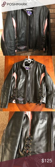 Leather motorcycle jacket Black with pink leather motorcycle jacket. Great condition. Jackets & Coats